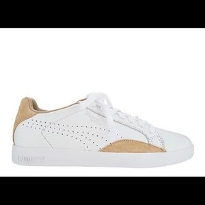 Women's WHITE LEATHER PUMA MATCH SNEAKERS SIZE 9M